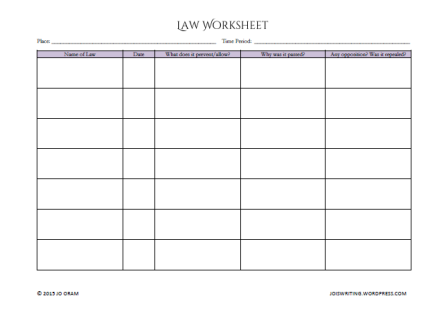 Law Worksheet