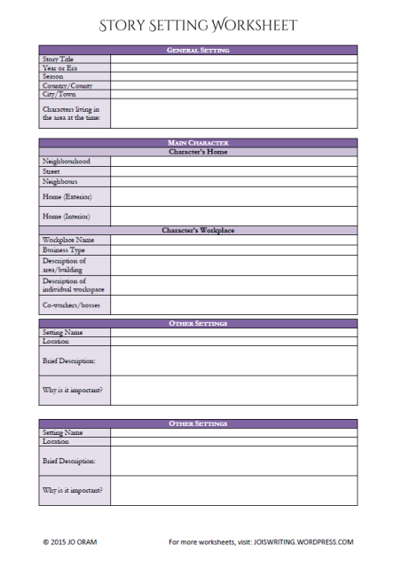 Settings Worksheet