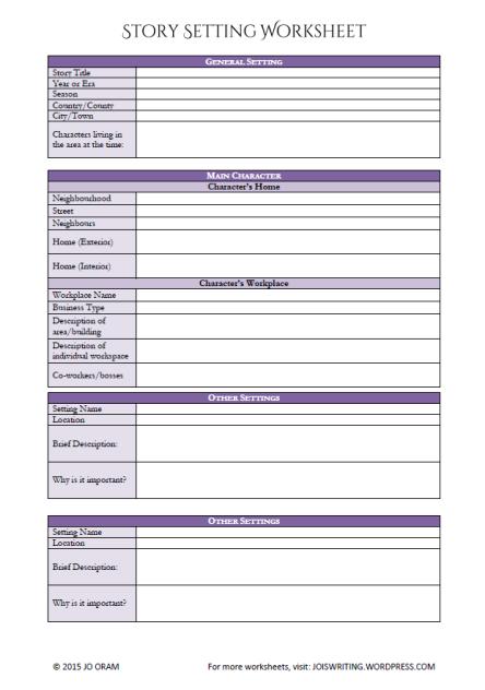 Settings Worksheet